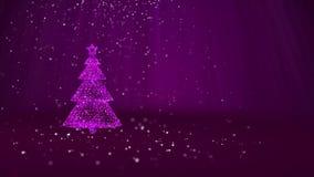 Árvore de Natal roxa das partículas brilhantes do fulgor na esquerda no tiro largo do ângulo Tema do inverno pelo Xmas ou o ano n ilustração stock