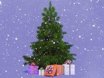Árvore de Natal Snow-covered Fotografia de Stock