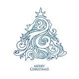 Árvore de Natal tirada mão do vetor ilustração stock