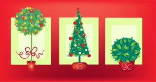 Árvore de Natal três ilustração royalty free