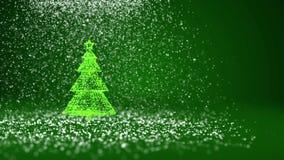 Árvore de Natal verde das partículas brilhantes do fulgor na esquerda no tiro largo do ângulo Tema do inverno pelo Xmas ou o ano  ilustração royalty free