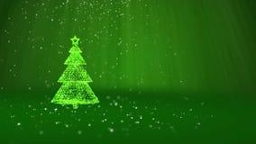Árvore de Natal verde das partículas brilhantes do fulgor na esquerda no tiro largo do ângulo Tema do inverno pelo Xmas ou o ano  ilustração do vetor
