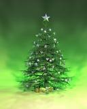 Árvore de Natal verde de prata Imagem de Stock Royalty Free