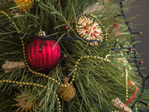 A árvore de Natal verde decorada com brinquedos e festão conduziu luzes Abeto vermelho festivo Imagens de Stock