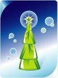 Árvore de Natal verde no fundo azul abstrato. Ilustração Stock