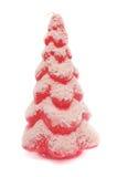 Árvore de Natal vermelha com geada do rebanho Imagens de Stock