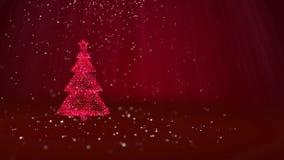 Árvore de Natal vermelha das partículas brilhantes do fulgor na esquerda no tiro largo do ângulo Tema do inverno pelo Xmas ou o a ilustração do vetor