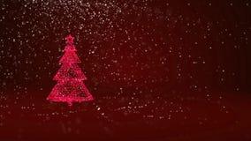 Árvore de Natal vermelha das partículas brilhantes do fulgor na esquerda no tiro largo do ângulo Tema do inverno pelo Xmas ou o a ilustração royalty free