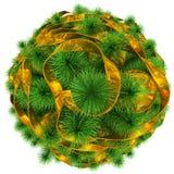 Árvore de Natal - vista superior - decorada com a bola dourada do Natal Imagens de Stock Royalty Free