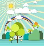 Árvore de papel abstrata da mola com nuvem e flores da luz do sol Foto de Stock