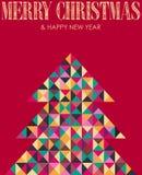 Árvore de pinho retro do Natal do mosaico Fotografia de Stock Royalty Free