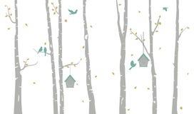 Árvore de vidoeiro com a silhueta das casas e dos pássaros do pássaro ilustração royalty free