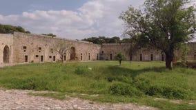 Árvore dentro do castelo medieval video estoque