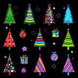 Árvore do ano novo coleção Imagens de incandescência Coleção colorida para decorar de seus locais, cartão, materiais de embalagem ilustração royalty free