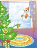 Árvore do ano novo com doces & boneco de neve Foto de Stock