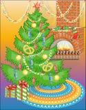 Árvore do ano novo com doces & a chaminé morna Fotografia de Stock