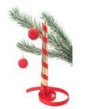 Árvore do ano novo com vela Fotografia de Stock
