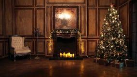 A árvore do ano novo decorou o interior da sala no estilo clássico video estoque