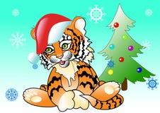 Árvore do ano novo do tigre ilustração stock