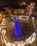 Árvore do ano novo em Sophia Square em Kiev Fotos de Stock Royalty Free