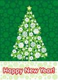 Árvore do ano novo em um fundo verde Fotografia de Stock Royalty Free