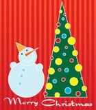 Árvore do boneco de neve e de Natal ilustração royalty free