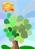 Árvore do corte do papel da colagem Fotografia de Stock