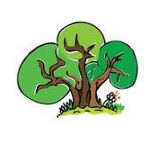 Árvore do desenho dos desenhos animados com cor Imagem de Stock