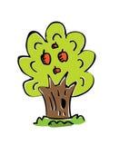 Árvore do desenho dos desenhos animados com cor Imagens de Stock