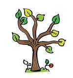 Árvore do desenho dos desenhos animados com cor Imagem de Stock Royalty Free
