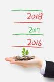 A árvore do dinheiro cresce acima no ano novo Imagens de Stock