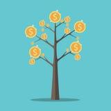 Árvore do dinheiro, moedas de ouro Imagens de Stock Royalty Free