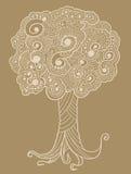 Árvore do doodle do Henna do esboço ilustração royalty free