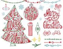Árvore do Feliz Natal, bolas Rotulação, festões, decoração ilustração stock