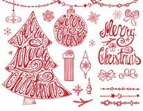 Árvore do Feliz Natal, bolas Rotulação, festões, decoração Vermelho ilustração royalty free