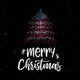 Árvore do Feliz Natal e de Natal com bandeira americana foto de stock
