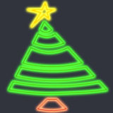 Árvore do feriado no néon Fotografia de Stock