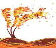 Árvore do grunge do outono no vento Vetor Fotografia de Stock Royalty Free