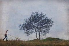 Árvore do homem do cão Fotos de Stock Royalty Free