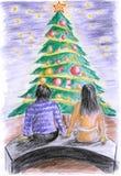 Árvore do Ilustração-Natal antes dos pares Ilustração Royalty Free