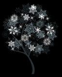 Árvore do inverno com flocos de neve Imagem de Stock