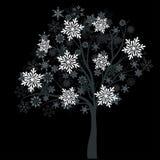 Árvore do inverno com flocos de neve Imagens de Stock Royalty Free