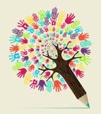 Árvore do lápis do conceito da mão da diversidade Imagens de Stock Royalty Free