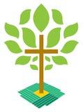 A árvore do logotipo da cruz da cristandade da vida Imagem de Stock