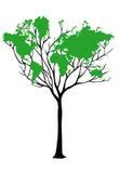 Árvore do mapa de mundo Fotos de Stock