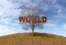 Árvore do mundo do texto Imagens de Stock Royalty Free