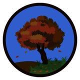 A árvore do outono com queda sae nos montes no outono moldados por um quadro redondo Ilustração Stock