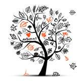 Árvore do outono, desenho de esboço para seu projeto Imagem de Stock