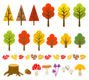 Árvore do outono e grupo do cogumelo Fotos de Stock
