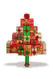 Árvore do presente de Natal isolada no branco Foto de Stock Royalty Free